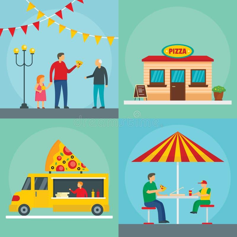 Σύνολο έννοιας εμβλημάτων τροφίμων φεστιβάλ πιτσών, επίπεδο ύφος απεικόνιση αποθεμάτων