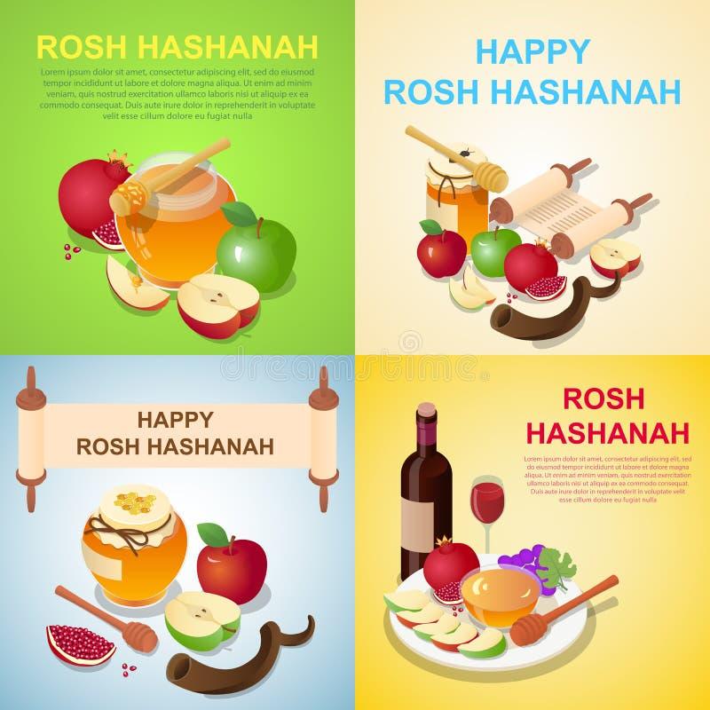Σύνολο έννοιας εμβλημάτων Hashanah Rosh, isometric ύφος ελεύθερη απεικόνιση δικαιώματος