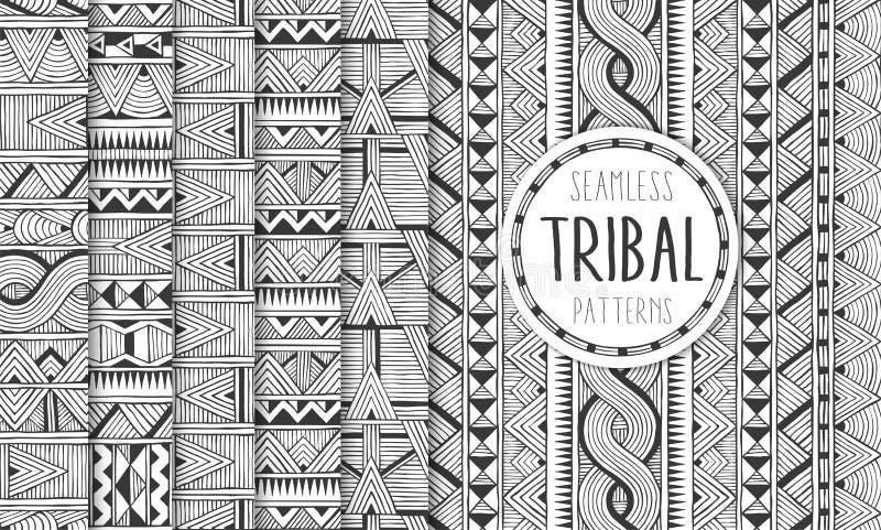 Σύνολο έξι εθνικών άνευ ραφής σχεδίων Φυλετικά γεωμετρικά υπόβαθρα Σύγχρονες αφηρημένες τυπωμένες ύλες διανυσματική απεικόνιση