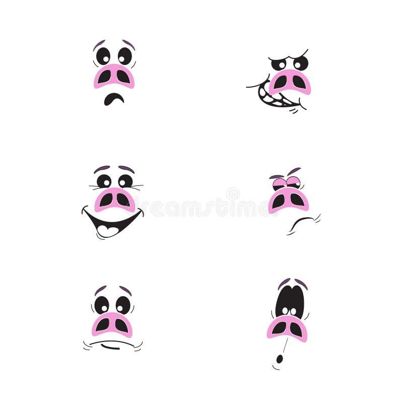 Σύνολο έξι χαριτωμένων χαρακτήρων χοίρων κινούμενων σχεδίων συναισθηματικών ρόδινων διανυσματική απεικόνιση