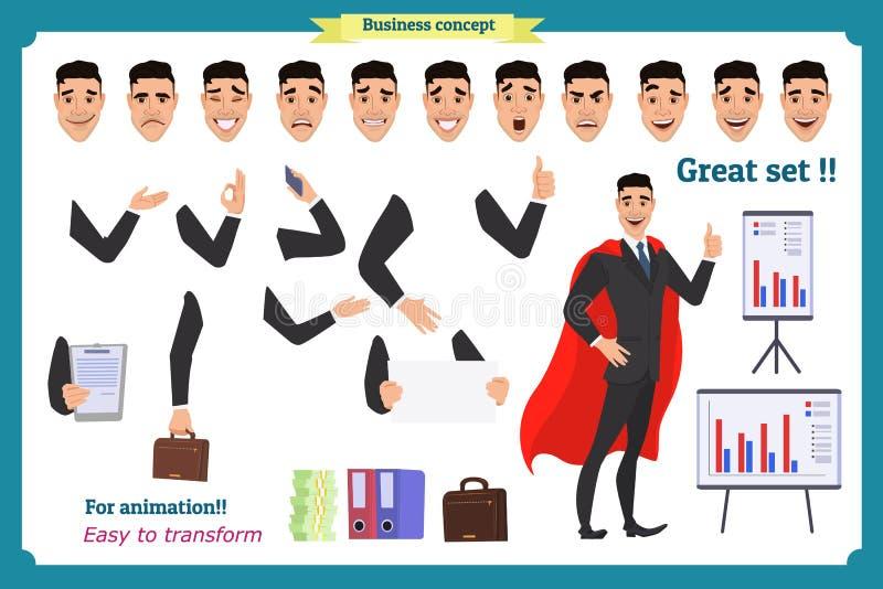 Σύνολο έξοχου ατόμου χαρακτήρα επιχειρηματιών στο κοστούμι, στάση ελεύθερη απεικόνιση δικαιώματος