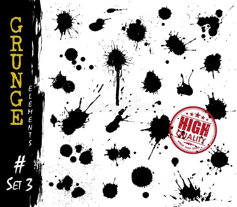 Σύνολο αίματος ή μελανιού ύφους grunge splatter και σταγονίδιου Διάνυσμα στοιχείων απεικόνιση αποθεμάτων