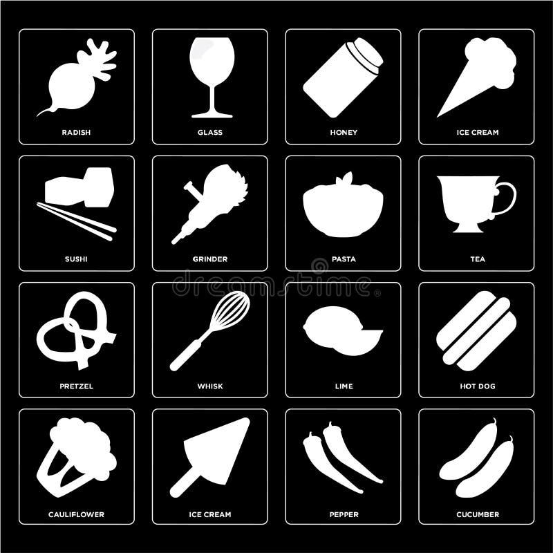 Σύνολο αγγουριού, πιπέρι, κουνουπίδι, ασβέστης, Pretzel, ζυμαρικά, Sush ελεύθερη απεικόνιση δικαιώματος