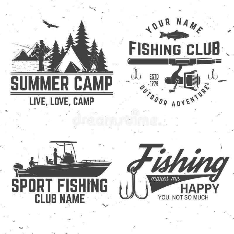 Σύνολο αθλητικής λέσχης αλιείας bages επίσης corel σύρετε το διάνυσμα απεικόνισης διανυσματική απεικόνιση