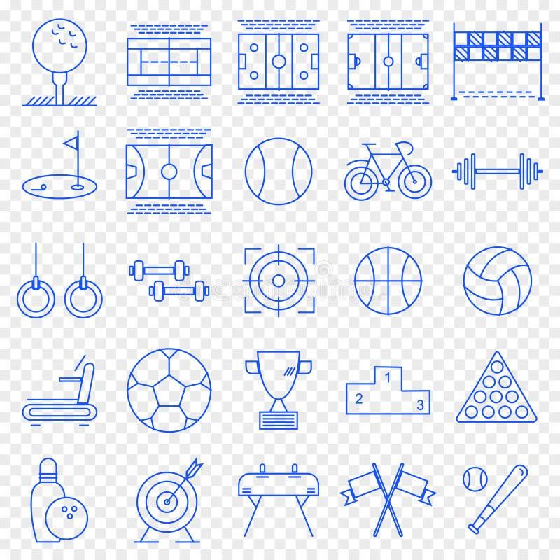 Σύνολο αθλητικών εικονιδίων Πακέτο 25 διανυσματικό εικονιδίων διανυσματική απεικόνιση