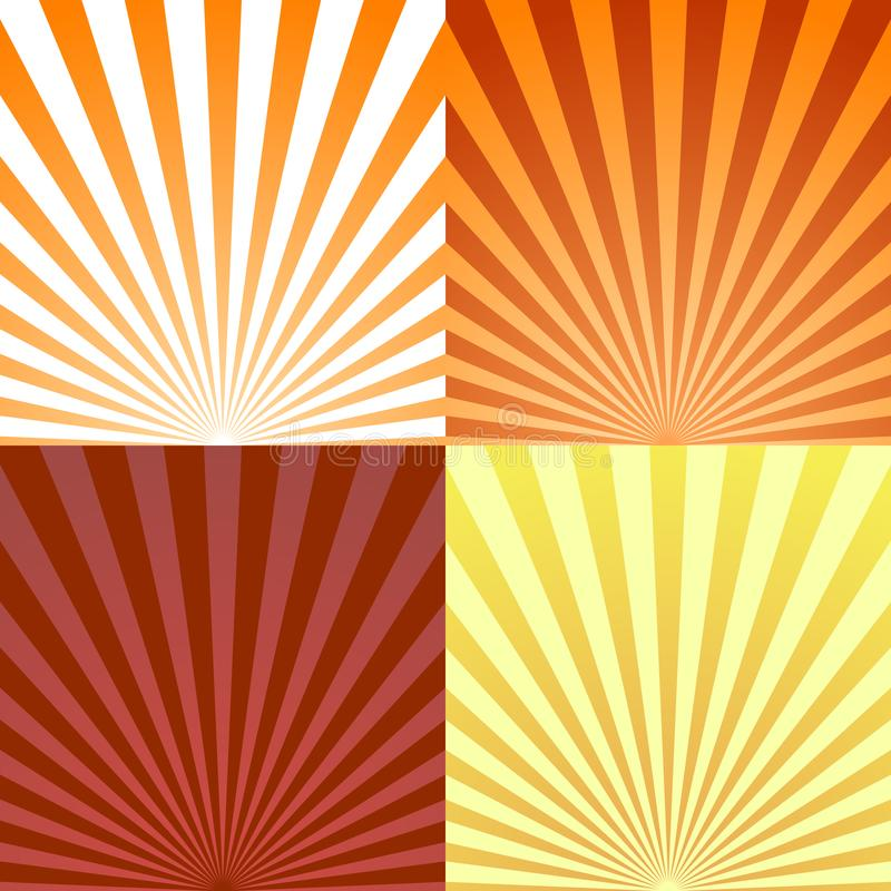 Σύνολο ακτίνας υποβάθρων ή αφηρημένων ακτίνων ήλιων Καθορισμένη έκρηξη ακτίνων σύστασης και αναδρομικό υπόβαθρο ακτίνων διάνυσμα διανυσματική απεικόνιση