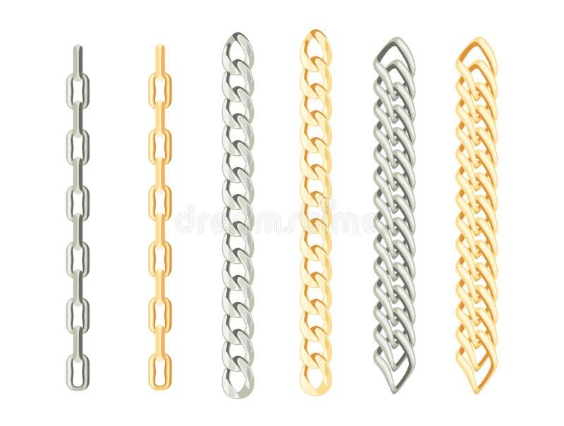 Σύνολο αλυσίδων του χρυσού και του ασημιού απεικόνιση αποθεμάτων