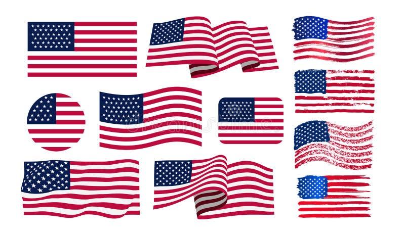 Σύνολο αμερικανικής σημαίας Αμερικανική σημαία εικονιδίων grunge Σημαία Watercolor των ΗΠΑ print r o ελεύθερη απεικόνιση δικαιώματος