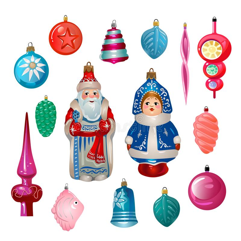 Σύνολο αναδρομικών διακοσμήσεων χριστουγεννιάτικων δέντρων κινούμενων σχεδίων από την ΕΣΣΔ Sovie διανυσματική απεικόνιση