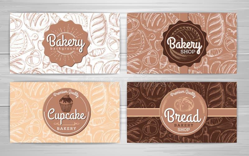 Σύνολο αναδρομικών εμβλημάτων ή καρτών αρτοποιείων προϊόντα εικόνας σχεδίου αρτοποιείων ελεύθερη απεικόνιση δικαιώματος