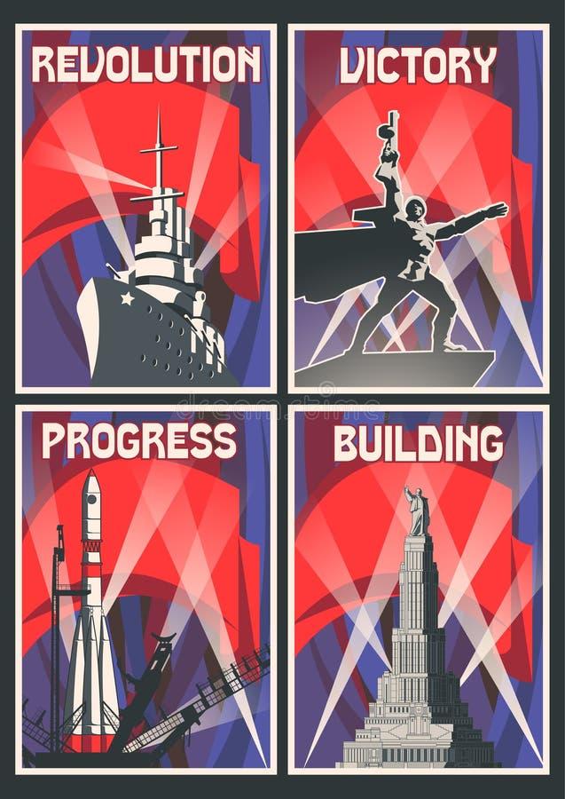 Σύνολο αναδρομικών σοβιετικών αφισών απεικόνιση αποθεμάτων