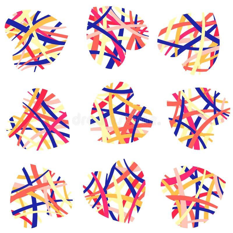 Σύνολο αναμειγμένων χρωματισμένων αφηρημένων καρδιών Σύμβολο της αγάπης, ημέρα βαλεντίνων, απομονωμένο διάνυσμα αντικείμενο ελεύθερη απεικόνιση δικαιώματος
