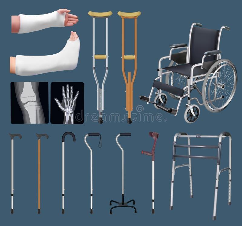 Σύνολο αντικειμένων της ιατρικής traumatology Επεξεργασία του οστεο-μυικού συστήματος Ρόδα γύψου, δεκανίκι, ακτίνα X, αναπηρική κ διανυσματική απεικόνιση