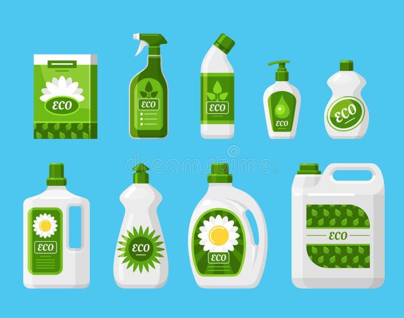 Σύνολο απεικονίσεων διανυσματικών προϊόντων καθαρισμού φιλικών προς το περιβάλλον διανυσματική απεικόνιση