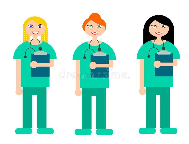 Σύνολο απεικονίσεων τριών χαμογελώντας νοσοκόμων με τα διαφορετικά hairstyles ελεύθερη απεικόνιση δικαιώματος