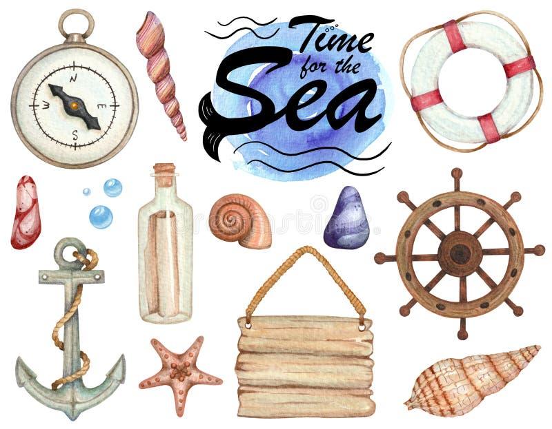 Σύνολο απεικονίσεων watercolor του θέματος θάλασσας που απομονώνονται ελεύθερη απεικόνιση δικαιώματος