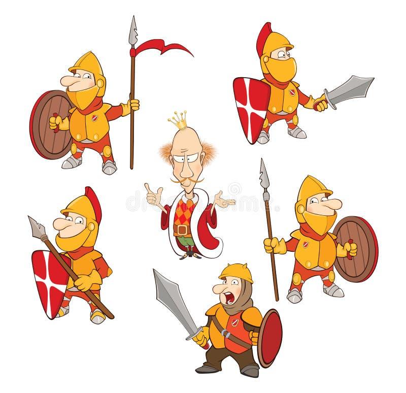 Σύνολο απεικόνισης κινούμενων σχεδίων Χαριτωμένοι ιππότες για σας σχέδιο διανυσματική απεικόνιση