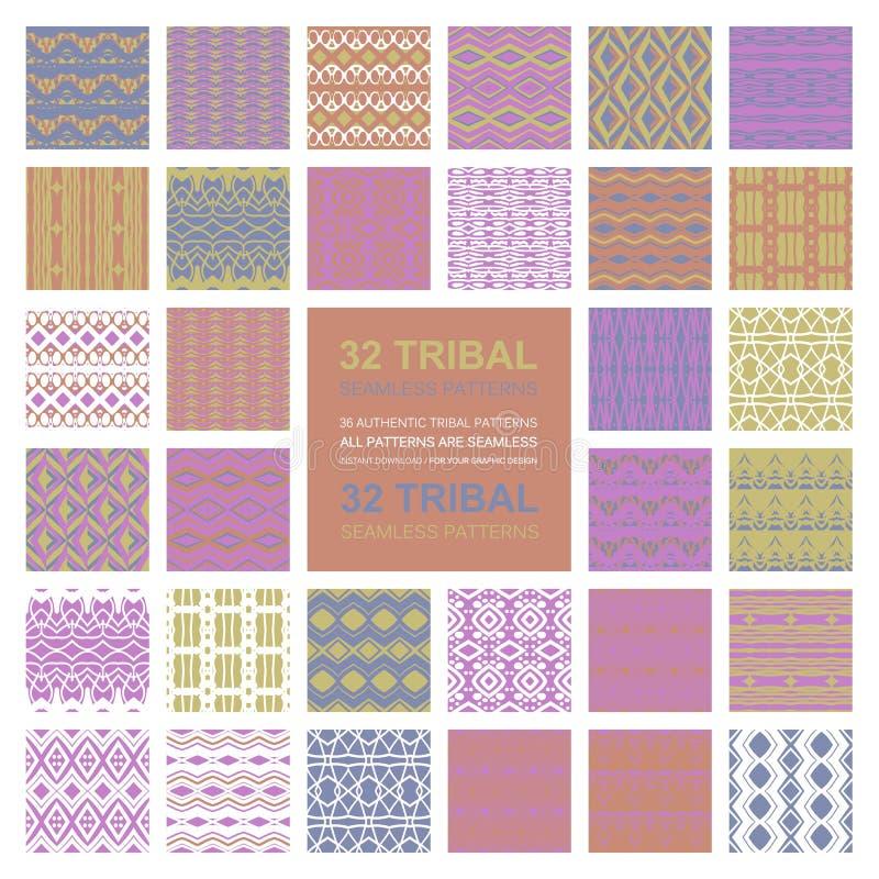 Σύνολο απλής άνευ ραφής διανυσματικής διακόσμησης 32 διανυσματική απεικόνιση