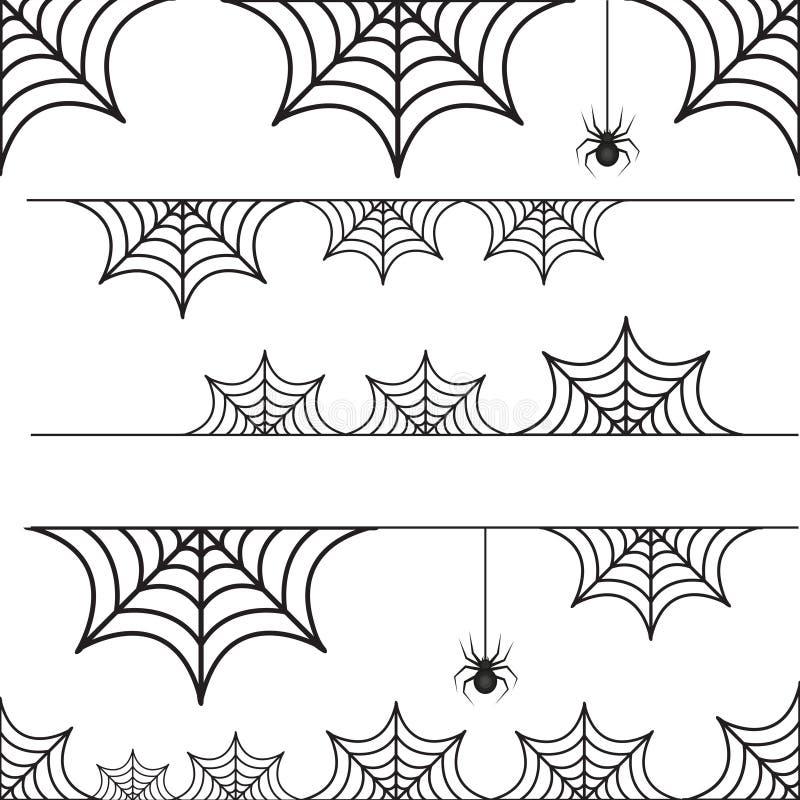 Σύνολο αποκριών ιστού αράχνης συνόρων με την αράχνη διανυσματική απεικόνιση