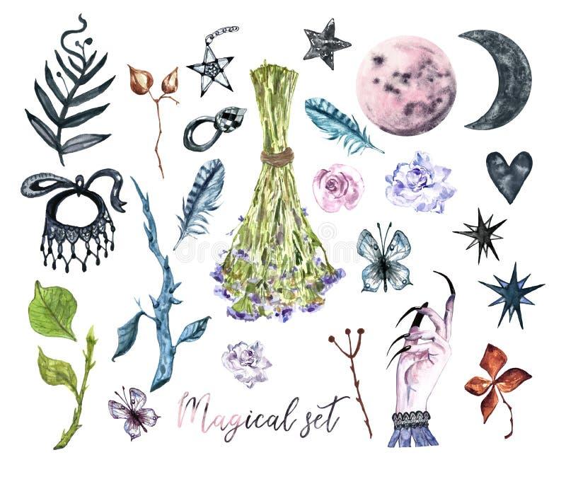 Σύνολο αποκριών Watercolor withcarft Η συλλογή του χεριού χρωμάτισε τα μαγικά στοιχεία Μάγισσα φεγγαριών απεικόνιση αποθεμάτων