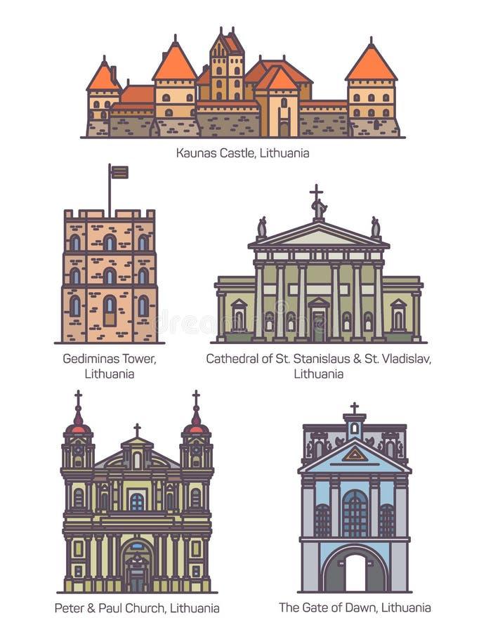Σύνολο απομονωμένης οικοδόμησης αρχιτεκτονικής της Λιθουανίας διανυσματική απεικόνιση