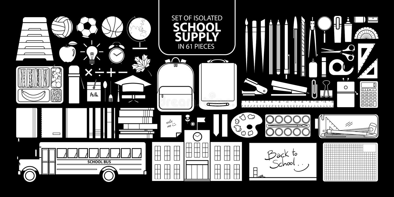 Σύνολο απομονωμένου άσπρου σχολικού ανεφοδιασμού σκιαγραφιών διανυσματική απεικόνιση