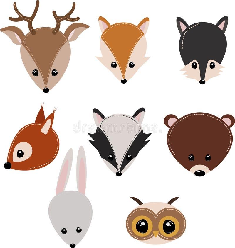Σύνολο απομονωμένου δασικού κεφαλιού ζώων - διανυσματική απεικόνιση, eps ελεύθερη απεικόνιση δικαιώματος