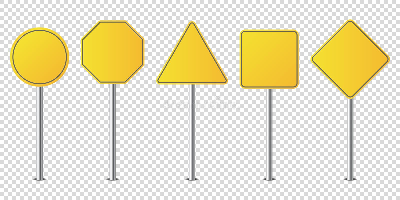 Σύνολο απομονωμένου κενού οδικών σημαδιών μετάλλων ελεύθερη απεικόνιση δικαιώματος