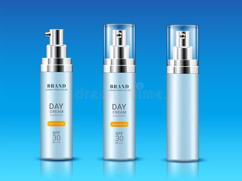Σύνολο απομονωμένου φιαλιδίου, μπουκάλια για sunscreen την κρέμα διανυσματική απεικόνιση