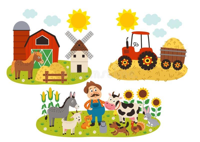 σύνολο απομονωμένων αγροτικών σκηνών απεικόνιση αποθεμάτων