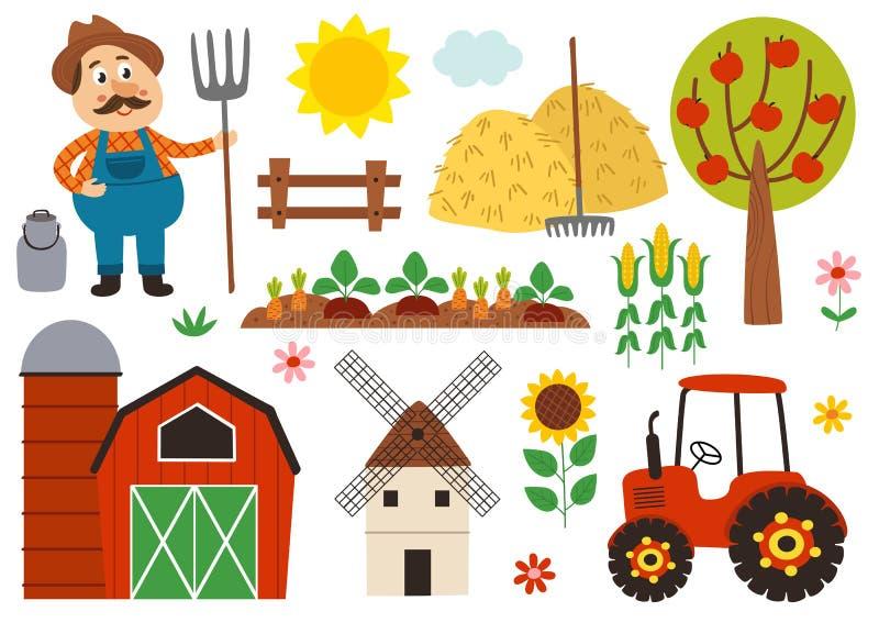 Σύνολο απομονωμένων αγροτικών στοιχείων ελεύθερη απεικόνιση δικαιώματος