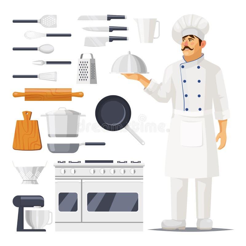 Σύνολο απομονωμένων εργαλείου και μάγειρα κουζινών με το καπέλο διανυσματική απεικόνιση