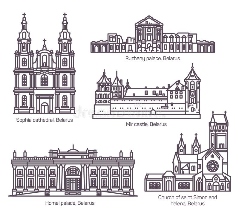 Σύνολο απομονωμένων λευκορωσικών ορόσημων αρχιτεκτονικής καθορισμένων απεικόνιση αποθεμάτων