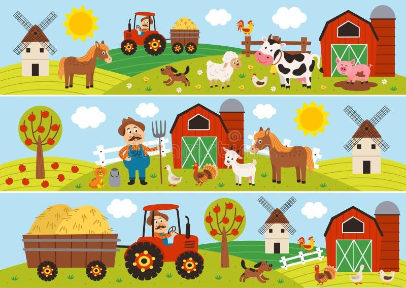 Σύνολο απομονωμένων οριζόντιων εμβλημάτων με τον αγρότη και τα κατοικίδια ζώα απεικόνιση αποθεμάτων