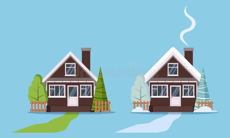 Σύνολο απομονωμένων σπιτιών χειμώνα και καλοκαιριού αγροτικού τούβλου χωρών με τα πλαστικά παράθυρα, με τους φράκτες, καπνοδόχος, απεικόνιση αποθεμάτων