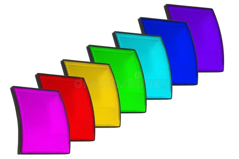 Σύνολο απομονωμένων χρώμα επικέντρων των οδηγήσεων χωρίς μοντάρισμα σε ένα άσπρο υπόβαθρο στοκ εικόνα με δικαίωμα ελεύθερης χρήσης