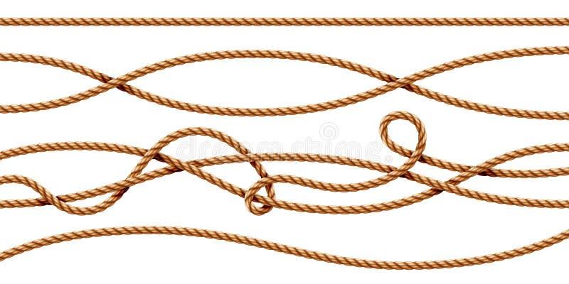 Σύνολο απομονωμένων curvy τρισδιάστατων σχοινιών, σειρές, σκοινί απεικόνιση αποθεμάτων