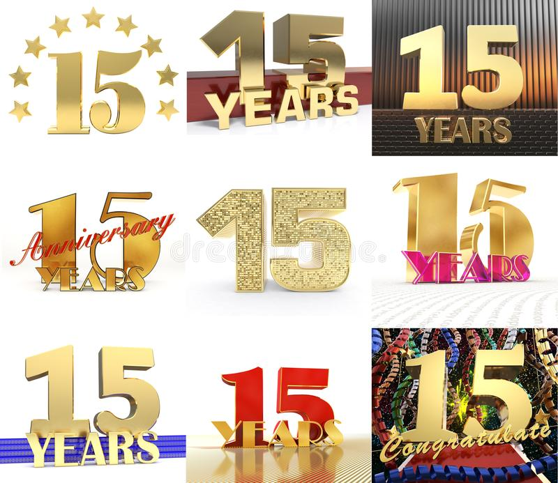 Σύνολο αριθμού δεκαπέντε έτος σχέδιο εορτασμού 15 ετών Χρυσά στοιχεία προτύπων αριθμού επετείου για τη γιορτή γενεθλίων σας τρισδ ελεύθερη απεικόνιση δικαιώματος