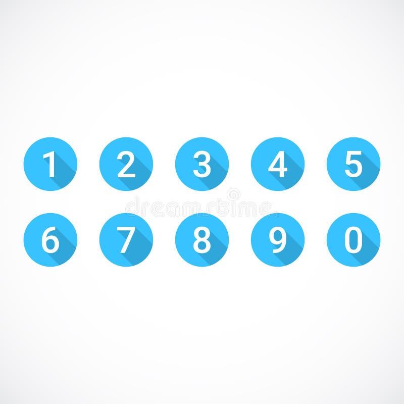 Σύνολο 0-9 αριθμών Σύνολο μπλε εικονιδίων αριθμού επίσης corel σύρετε το διάνυσμα απεικόνισης διανυσματική απεικόνιση