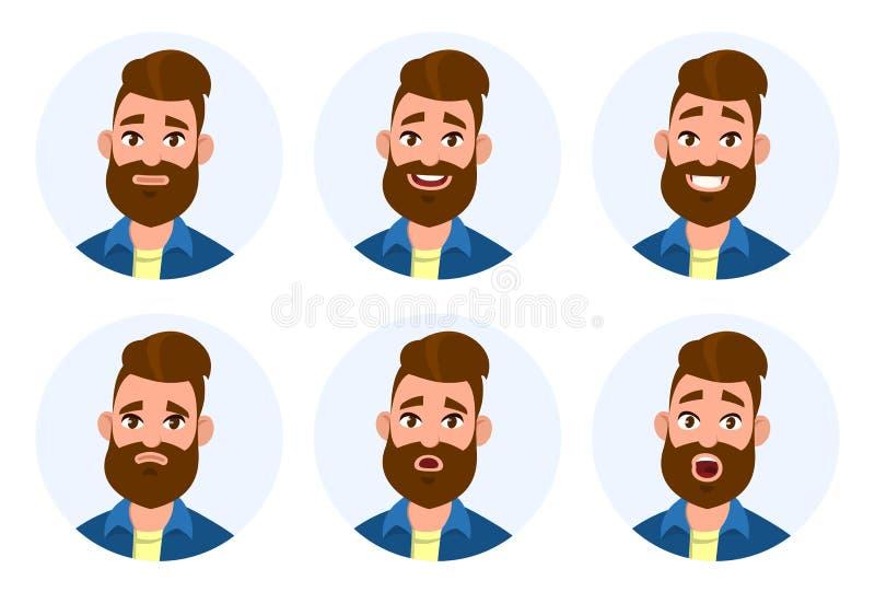 Σύνολο αρσενικών του προσώπου συγκινήσεων Διαφορετικές αρσενικές συγκινήσεις καθορισμένες Χαρακτήρας emoji ατόμων με τις διαφορετ ελεύθερη απεικόνιση δικαιώματος