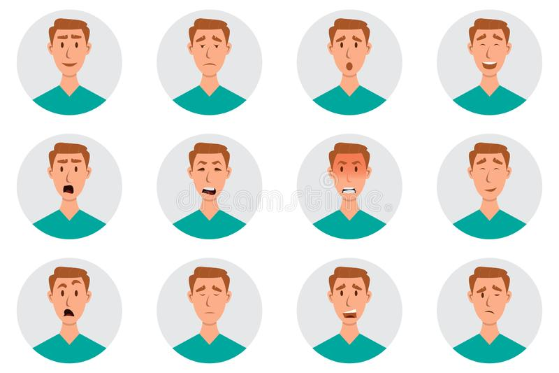 Σύνολο αρσενικών του προσώπου συγκινήσεων χαρακτήρας emoji ατόμων με τις διαφορετικές εκφράσεις ελεύθερη απεικόνιση δικαιώματος
