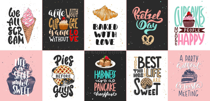 Σύνολο αρτοποιείου και γλυκών γράφοντας αφισών τροφίμων, ευχετήριες κάρτες, διακόσμηση, τυπωμένες ύλες Συρμένα χέρι στοιχεία σχεδ απεικόνιση αποθεμάτων
