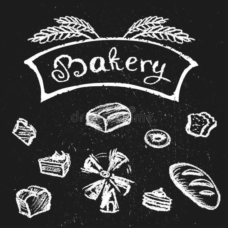 Σύνολο αρτοποιείων, συρμένο χέρι σχέδιο ύφους κιμωλίας διανυσματική απεικόνιση