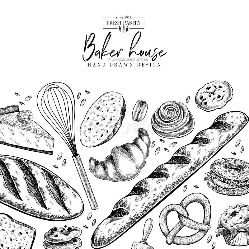 Σύνολο αρτοποιείων Συρμένο χέρι ψωμί, φραντζόλα, croissant, pretzel, macaron, πίτα, baguette Ζύμη αλευριού Wheatl Διάνυσμα που χα διανυσματική απεικόνιση