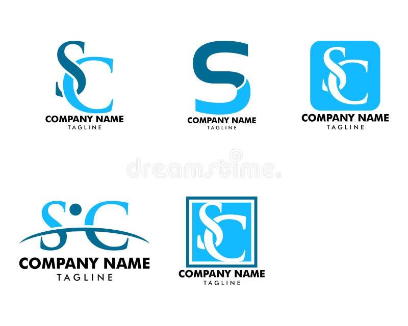 Σύνολο αρχικού σχεδίου προτύπων λογότυπων γραμμάτων Sc διανυσματική απεικόνιση