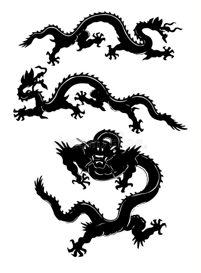 Σύνολο ασιατικών δερματοστιξιών δράκων Το διάνυσμα απομόνωσε την ασιατική διακόσμηση διανυσματική απεικόνιση
