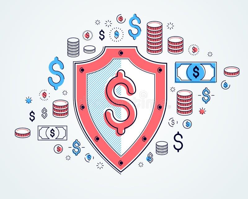 Σύνολο ασπίδων και δολαρίων εικονιδίων, οικονομική έννοια ασφάλειας, επιχειρησιακός υπερασπιστής τεθωρακισμένων, προστασία χρηματ απεικόνιση αποθεμάτων