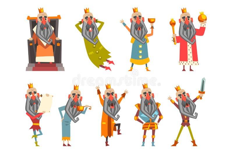 Σύνολο αστείου βασιλιά στα διάφορα ενδύματα Χαρακτήρας κινουμένων σχεδίων του γενειοφόρου ηληκιωμένου που φορά τη χρυσή κορώνα Κυ απεικόνιση αποθεμάτων