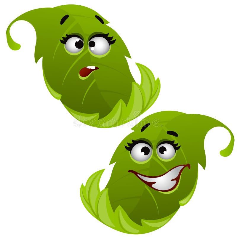 Σύνολο αστείου φύλλου δέντρων γέλιου πράσινου που απομονώνεται στο άσπρο υπόβαθρο Διανυσματική απεικόνιση κινηματογραφήσεων σε πρ διανυσματική απεικόνιση