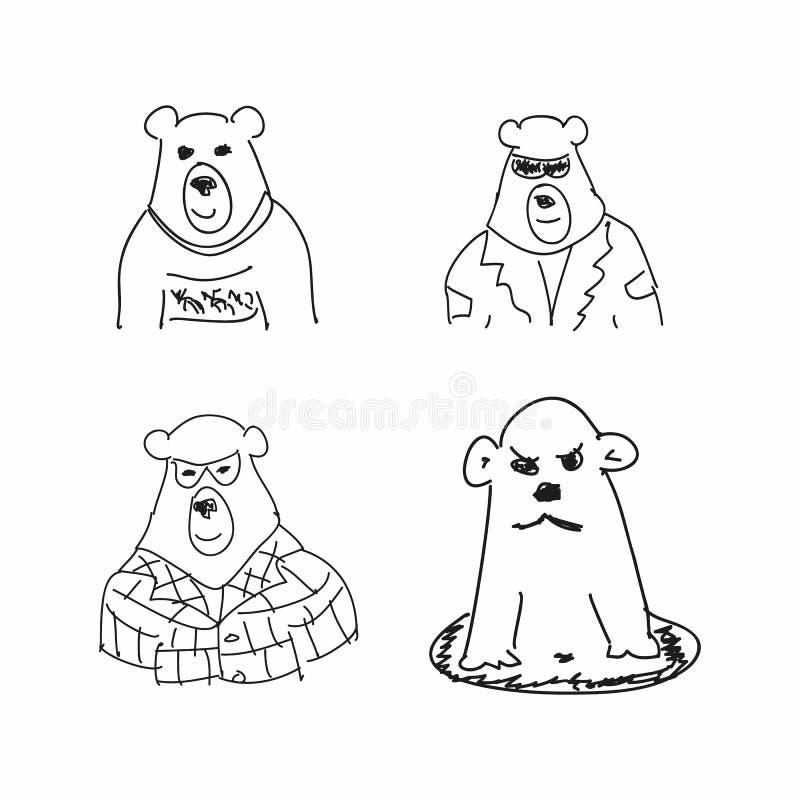 Σύνολο αστείων σκίτσων της αρκούδας Μίμηση των σχεδίων των παιδιών Περιγραμματικός, κακογραφία r διανυσματική απεικόνιση